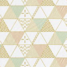 Gold Triangles Fabric by the Yard   Carousel Designs.  Metallic gold accents the pastel shade of peach and mint in this modern print featuring triangle graphics. The contrast creates a unique design that is a real stand out. Printed on soft 100% cotton and perfect for your nursery.