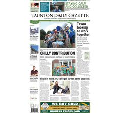 The front page of the Taunton Daily Gazette for Saturday, Aug. 30, 2014.