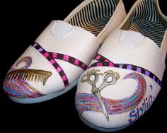 Aileen's Musings: Painted Tom Shoes #Tomhairstylistshoes #TomShoes #alteredshoes #paintedshoes #cosmetology