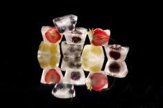 Recipes: Frozen Fruit Skewers with Chocolate Drizzle / Frozen Mango, Kiwi, Raspberry Pops / Frozen Fruit Ice Cubes