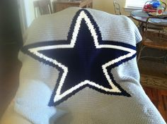 Dallas Cowboys Crochet Blanket I made for Stacy.