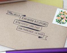 RSVP envelope address stamp - BANNER DESIGN - with wood handle