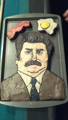 Ron Swanson cake! If I REALLY loved my husband I would make him this cake!!!