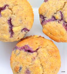 Healthy Blueberry Muffins - these have no sugar but still taste great with the sweetness from bananas
