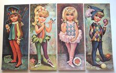 60s Goji Big Eyed Kids Harlequin Modern Art by PoorLittleRobin, $28.00