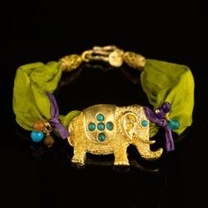 Elephant Bracelet Green now featured on Fab.