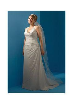 wedding dressses, alfr angelo, court train, angelo 2070w, pea, chiffon wedding dresses, halter court, weddings, plus size dresses