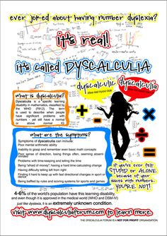 Dyscalculia Educational Poster - Re-pinned by @PediaStaff – Please Visit http://ht.ly/63sNt for all our pediatric therapy pins
