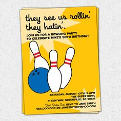 Bowling Birthday Invitation, Rollin' and Hatin', Vintage, Retro, Adult or Teen, Printable DIY Digital File by OhCreativeOne, LLC