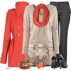 Great fall work attire- the orange accessories make this outfit pop!