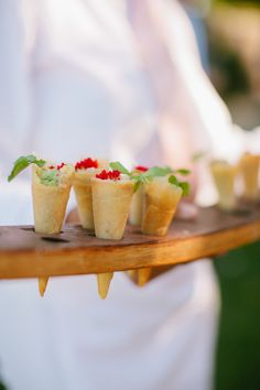 Wedding Food Appetizers - Not exactly sure what's in here - but looks yummy to us!! On SMP: http://www.stylemepretty.com/california-weddings/2014/05/30/music-inspired-sonoma-wedding/ // JennaMariePhotography.com