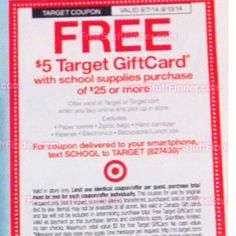 Starting 9/7-9-13 - $5GC for $25+ School Supplies