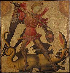 Saint Michael and the Dragon  Spanish (Valencian) Painter, first quarter 15th century