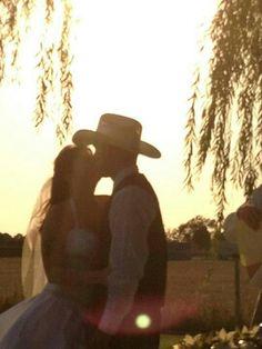 A cowboy kiss at sunset>> http://my.gactv.com/great-american-weddings/multigallery.esi?soc=pinterest