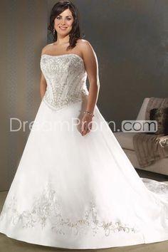 Glamorous A-Line/princess Strapless Cathedral  Satin Plus Size Wedding Dresses(3H0034)