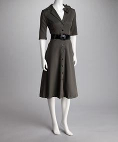 Black & Sand Belted Dress #zulily #zulily *want