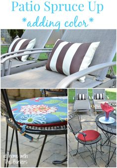 Patio Spruce Up with Reversible Patio Cushions and Pillows using beautiful fabric from Online Fabric Store. #outdoorliving #fabric