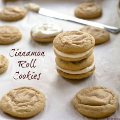 Cinnamon Roll Cookies | Soft, thick cinnamon cookies spread with a tangy cream cheese frosting.