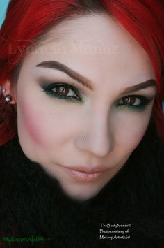 """""""Emerald Smoke"""" by Lynneth! Beach Party, Mad Mad Mocha, Blackened Emerald, Chalet Green and Steal the Night pigments. Also, TBN's Lippie Café con Leche and Cheeky blush."""