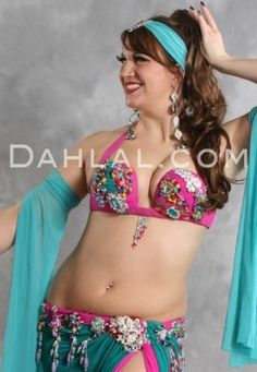 $674.95 TAHITIAN REVERIE in Teal, Hot Pink and Multicolor by designer Rising Stars, Egyptian Belly Dance Costume