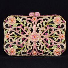 High Quality Crystals Luxurious Pink Flower Clutch Evening Handbag Purse Bag. wow bling bling