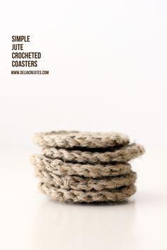DIY: simple jute crocheted coasters