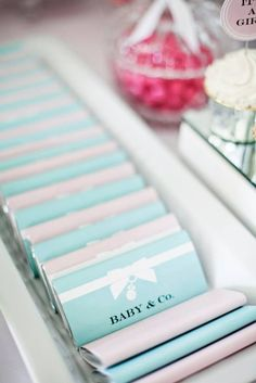 Candy bars at a Tiffany's baby shower!  See more party ideas at CatchMyParty.com!  #partyideas #tiffanys