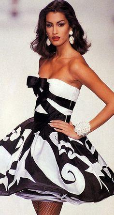 fashion glamour, black n white, party dresses, style, mini dresses, white fashion, black white, cocktail dresses, yasmeen ghauri
