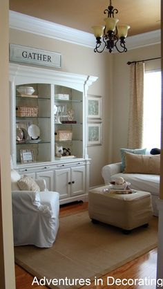 For the Dining Room: One of my favorite Benjamin Moore neutrals (Manchester Tan) with a darker gold on the ceiling, and wide white molding.