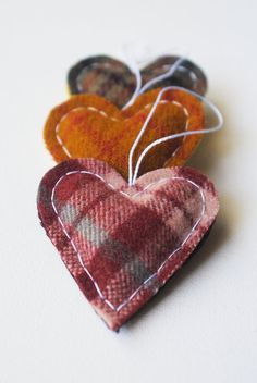 plaid wool hearts