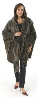 Apres Ski or Mud Season Deep Taupe Not Your Every Day Shearling Cape