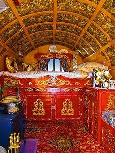 Beautifully ornate vardo interior