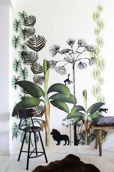 Kids room jungle wal