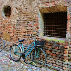 Blue Bike against Red Brick 8x8 by KarleeandDave on Etsy, $30.00