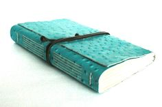Large Leather Journal Embossed Turquoise by TheOrangeWindmill, $49.95