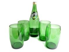 Large Perrier Mineral Water Glasses Tumblers Set of Four