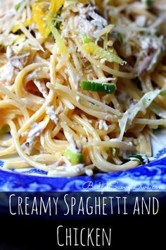 One of the BEST pasta dishes of ALL time. Gluten - Free. Cost about $10 for 4 BIG servings. Creamy Spaghetti and Chicken Recipe #glutenfree #recipe #pasta #budgetsavvydiva via budgetsavvydiva.com