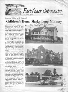 Esther's note of where she was raised as a child - the Swedish Christian Orphanage in Cromwell, Connecticut.