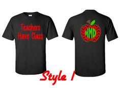 Chevron Monogram Apple Shirt Teacher Gift Teacher by VinylDezignz, $28.95