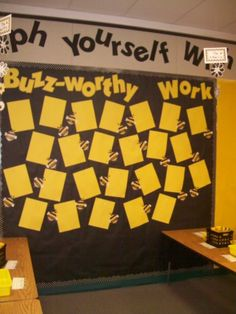 Bee Themed Classroom | This is my work display board. The bees have the students' names on ... bee themed classroom, bee theme bulletin board, idea, classroom theme, bulletin boards, student work, classroom decor bees, teacher, display boards