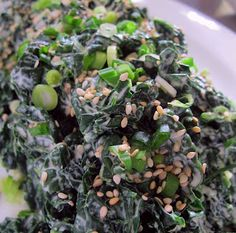 Kale salad with curry peanut dressing