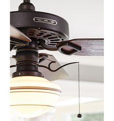 Rejuvenation Detail: Heron Ceiling Fan w/ Fumed Oak Blades - based on G.E. ceiling fans built between 1913-1925. #lighting #ceilingfan #home #design
