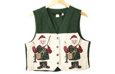 Santa's Gone Fishing Tacky Ugly Christmas Vest Women's Size Medium/Large (M/L) $20
