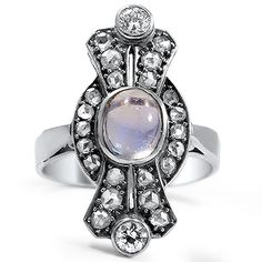 Art Deco moonstone + platinum