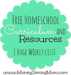Free Homeschool curriculum and resources from moneysavingmama.com