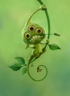 Cool Green Monster Cartoon Character.