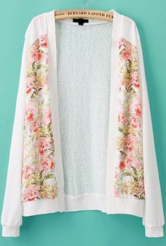 White Long Sleeve Floral Knit Cardigan