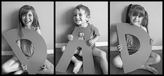 "Adorable Dad photo! Cut letters ""D"" and ""A"" from poster paper. Have each kid hold a letter and take their photo. If you have one child, take their photo holding each of the letters."