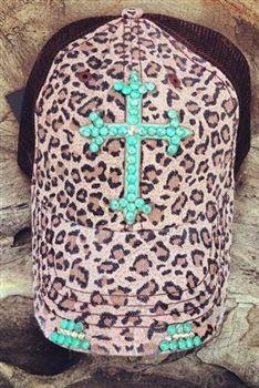 Turquoise Cross on Leopard Trucker Hat