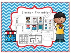 Election Printable from Preschool Printables on TeachersNotebook.com -  (30 pages)  - Election Printable  7 color & trace pages Trace the words 2 pages of matching How many? Circle the first letter 2 maze pages Trace the lines What is different? Trace the numbers  1-12